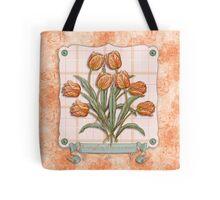 Vintage Orange Tulips Peach Pink Plaid Green Ribbon Tote Bag