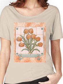 Vintage Orange Tulips Peach Pink Plaid Green Ribbon Women's Relaxed Fit T-Shirt