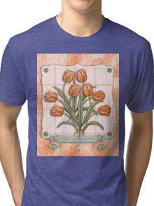Vintage Orange Tulips Peach Pink Plaid Green Ribbon Tri-blend T-Shirt