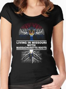LIVING IN MISSOURI WITH MASSACHUSETTS ROOTS Women's Fitted Scoop T-Shirt