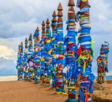 Pagan Buryat Pole Totems on Olkhon island, Lake Baikal, Siberia, Russia Sticker