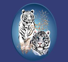 Two White Tigers Oval  Womens Fitted T-Shirt