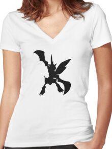 Scyther silhouette Women's Fitted V-Neck T-Shirt