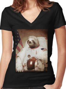 Sloth Astronaut Women's Fitted V-Neck T-Shirt