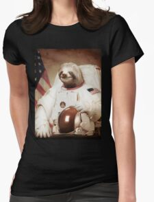 Sloth Astronaut Womens Fitted T-Shirt