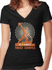 SOVIET RED ARMY SCULPTURE Women's Fitted V-Neck T-Shirt