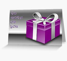 A Purple Wrapped Gift Box To Both Of You  Greeting Card