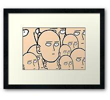 A lot... Of saitama's face Framed Print