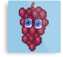 Grape Pixel Smile - Blue Background Metal Print