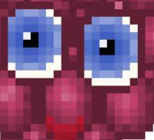 Grape Pixel Smile - Blue Background Sticker
