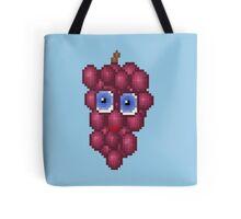 Grape Pixel Smile - Blue Background Tote Bag