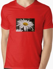 Close Up Common Daisy with Winged Insects Mens V-Neck T-Shirt