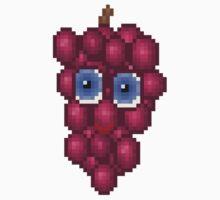Grape Pixel Smile - White Background Kids Tee