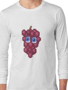 Grape Pixel Smile - White Background Long Sleeve T-Shirt