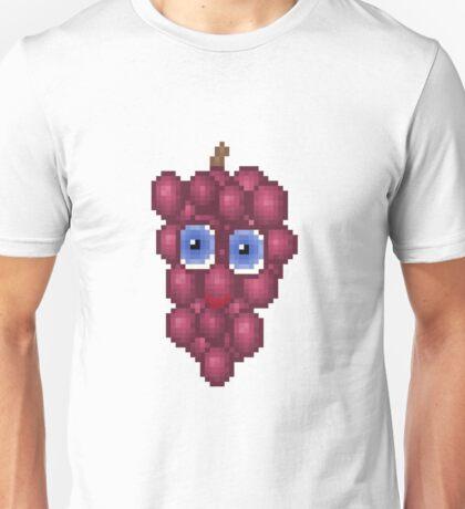Grape Pixel Smile - White Background Unisex T-Shirt