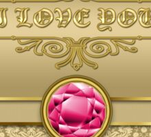 Love Ruby Red Gemstone Metallic Shiny Gold Damask Sticker