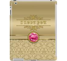 Love Ruby Red Gemstone Metallic Shiny Gold Damask iPad Case/Skin