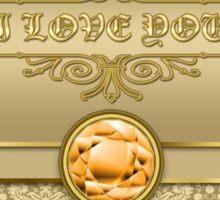 Love Orange Topaz Gemstone Metallic Gold Damask Sticker