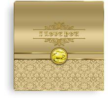 Love Citrine Yellow Gemstone Metallic Gold Damask Canvas Print