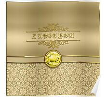 Love Citrine Yellow Gemstone Metallic Gold Damask Poster