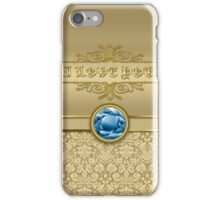 Love Sapphire Blue Gemstone Metallic Gold Damask iPhone Case/Skin