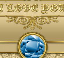 Love Sapphire Blue Gemstone Metallic Gold Damask Sticker