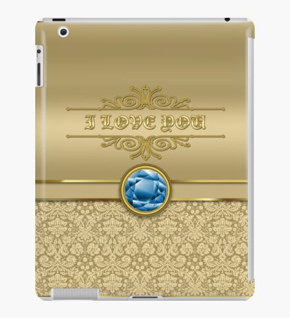 Love Sapphire Blue Gemstone Metallic Gold Damask iPad Case/Skin