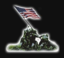 American Flag, America, USA, Raising the Colours on Iwo Jima WW2, on BLACK by TOM HILL - Designer