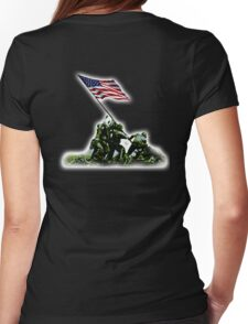 American Flag, America, USA, Raising the Colours on Iwo Jima WW2, on BLACK Womens Fitted T-Shirt
