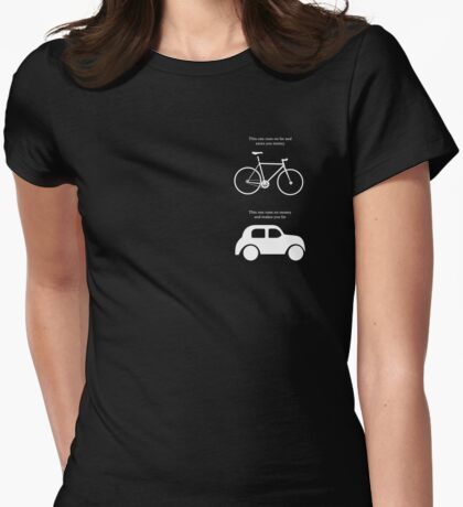 This one runs on fat and saves you money - Small logo Womens Fitted T-Shirt