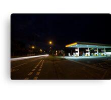 petrol station in send surrey uk long exposure Canvas Print