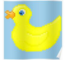 Rubber Pixel Duck - Blue Background Poster