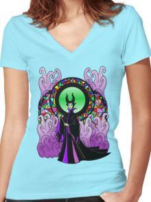 """All Hail Maleficent!"" Women's Fitted V-Neck T-Shirt"