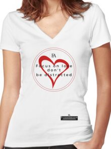Focus On Love Women's Fitted V-Neck T-Shirt