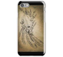 Fox skull feathers and lavender  iPhone Case/Skin