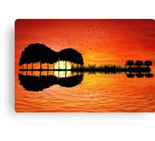 guitar island sunset Canvas Print