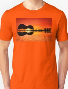guitar island sunset Unisex T-Shirt