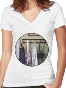 Aprons and Feather Duster Women's Fitted V-Neck T-Shirt