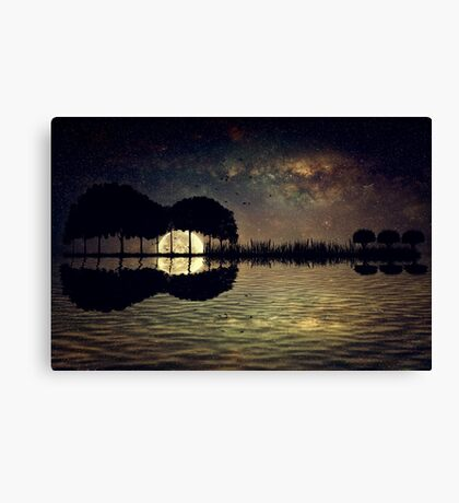 guitar island moonlight Canvas Print