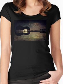 guitar island moonlight Women's Fitted Scoop T-Shirt