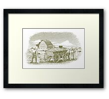 Woodcut Hay Farmer Framed Print