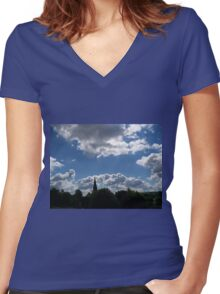 Clouds Over the Spire Women's Fitted V-Neck T-Shirt