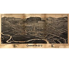 Bird's Eye View Map of Oneonta New York (1884) Photographic Print