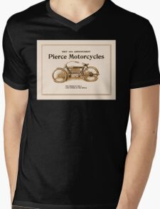 1910 Pierce motorcycles, classic American motorbike ad Mens V-Neck T-Shirt