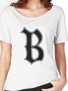 English Gothic Monogram letter B - black color Women's Relaxed Fit T-Shirt