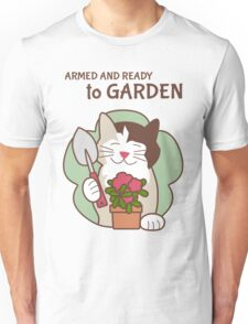 Armed and Ready to Garden, Cat Unisex T-Shirt
