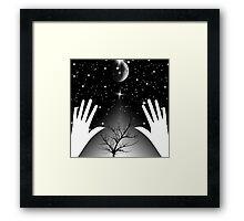 Bright galaxy and Moon  Framed Print