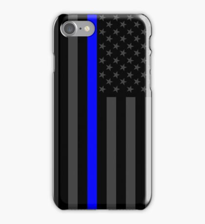 The Symbolic Thin Blue Line on American Flag iPhone Case/Skin