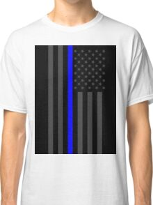 The Symbolic Thin Blue Line on American Flag Classic T-Shirt