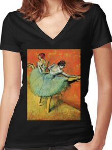 Ballerinas at the barre Women's Fitted V-Neck T-Shirt